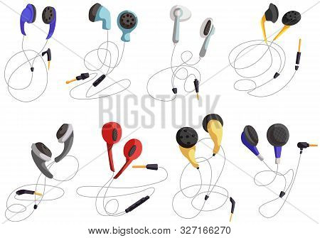 Headphones For Listening To Music, Headphone Vector Set, In-ear Headphones, Multi-colored Headphones