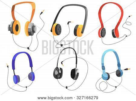 Headphones For Listening To Music, Headphone Vector Set, On-ear Headphones, Multi-colored Headphones