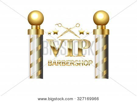 Realistic Vector - Two Gold Old Fashioned Vintage Glass Barber Shop Poles Barber Sign. For Design An