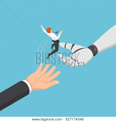 Flat 3d Isometric Businessman Jump From Human To Ai Robot Hand. Artificial Intelligence And Moving I