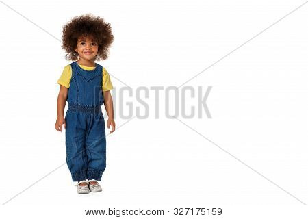 Childhood And People Concept-happy Little African American Girl Wearing Denim Clothers In Full Lengt