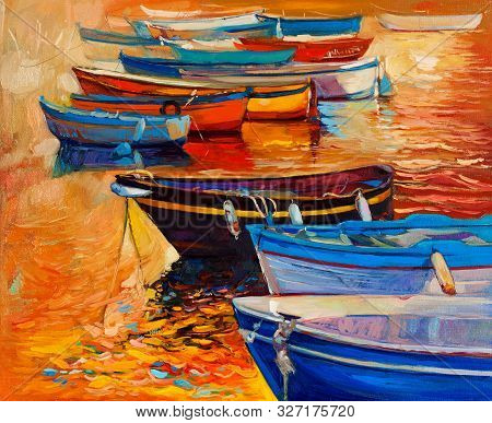 Original Oil Painting Of Boats And Jetty(pier)and Lighthouse On Canvas.sunset Over Ocean.modern Impr
