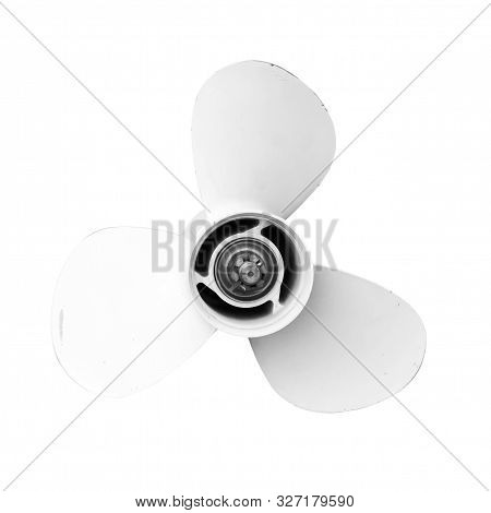 Propeller Of A 20 Horsepower Outboard Engine Isoalted On White  Background, Old And Worn Outboard En