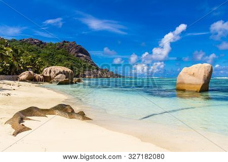 The Most Beautiful Beach Of Seychelles, Anse Source Dargent, Granite Rocks At Beautiful Beach On Tro