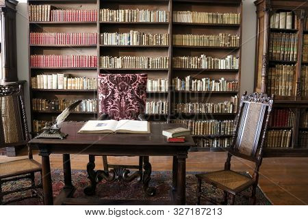 Casta, Slovakia - August 31, 2019: Interior Of Medieval Cerveny Kamen (red Stown) Castle. Cabinet Wi