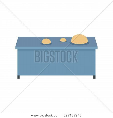 Dough On Table Icon. Flat Illustration Of Dough On Table Vector Icon For Web Design