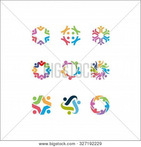 Vector Logo Icons Of People Together - Sign Of Unity, Partnership, Leadership, Community, Engagement