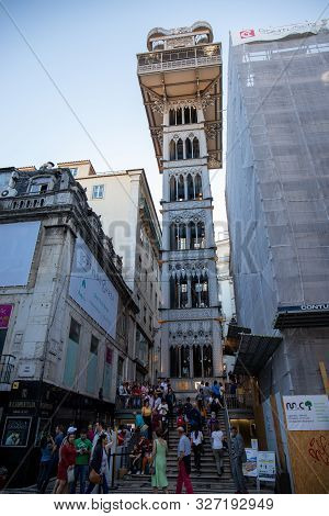 October 6th, 2019, Lisbon, Portugal - The Santa Justa Lift, Also Called Carmo Lift, Is An Elevator I