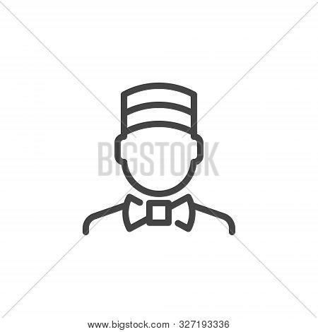 Concierge Icon. Doorman Outline Logo. Porter Line Pictogram. Label Employee Of Hotel, Motel, Inns. L