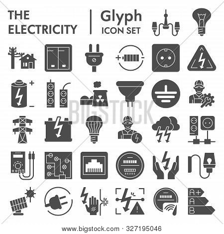 Electricity Glyph Icon Set, Power Symbols Collection, Vector Sketches, Logo Illustrations, Electrici