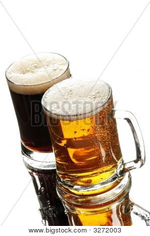 Two Beers In Glasses