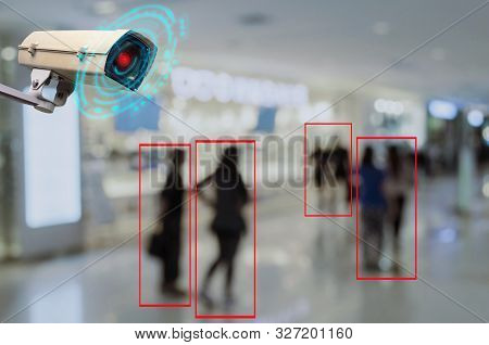 Iot Cctv, Security Indoor Camera Motion Detection System Operating With People Shopping At Shopping