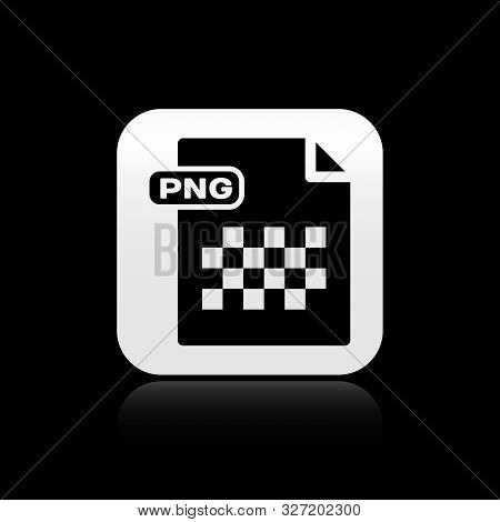 Black Png File Document. Download Png Button Icon Isolated On Black Background. Png File Symbol. Sil