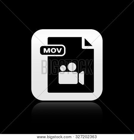 Black Mov File Document. Download Mov Button Icon Isolated On Black Background. Mov File Symbol. Aud