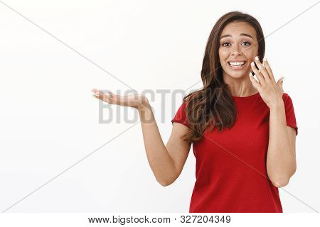 Extremely Happy And Flattered Young Woman Receive Award, Look Sentimental And Thankful, Smiling Exci