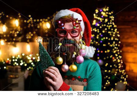 New Year. Wish You Merry Christmas. Christmas Beard Style. Man With Funny Face Over Christmas Backgr