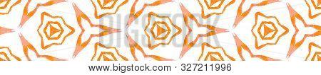 Orange Geometric Foliage Seamless Border Scroll. Geometric Watercolor Frame. Classy Seamless Pattern