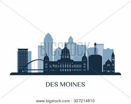 Des Moines Skyline, Monochrome Silhouette. Vector Illustration.
