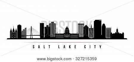 Salt Lake City Skyline Horizontal Banner. Black And White Silhouette Of Salt Lake City, Utah. Vector