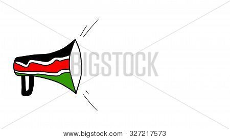 Nairobi, Kenya - October 11: Background Image Of An Announcement Horn In Kenya Flag Colors And White