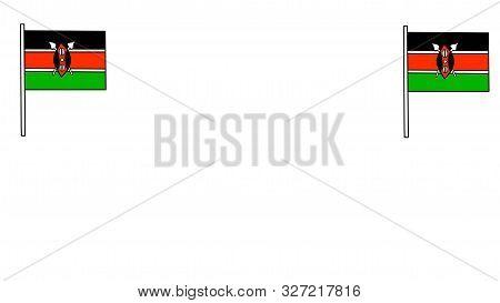 Nairobi, Kenya - October 11: Background Of 2 Flags Of Kenya And White Space Designed On October 11,