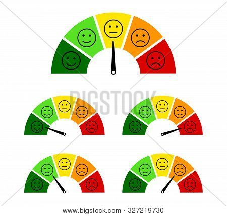 Customer Satisfaction Scale With Smile, Angry Icon. Speedometer Score Feedback Survey Of Client. Gau