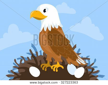 Cute Brown Eagle Vector Clipart Background Image.