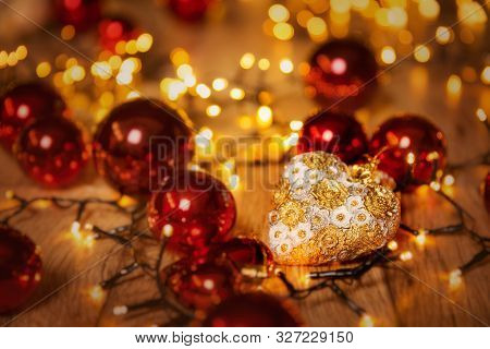 Christmas Led Lights, Xmas Lighting Heart Decoration, De Focused Holiday Background