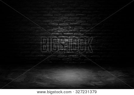 Abstract Black And White Of Studio Dark Room Black Brick Wall With Concrete Floor.
