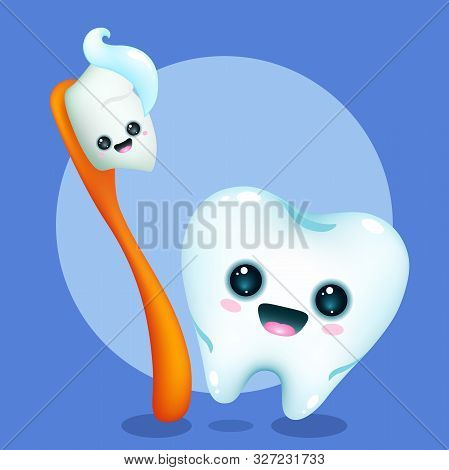 Funny Cartoon Orange Toothbrush And Tooth On A Blue Background