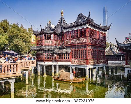 29 November 2018 - Shanghai, China - The Huxinting Tea House And Nine Turn Bridge In The Yu Garden A