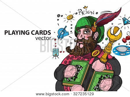 King Of Clubs Playing Card Suit. Vector Illustration.