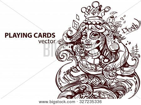 Queen Of Diamonds Playing Card Suit. Outline Drawing.