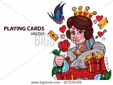 Queen Of Hearts Playing Card Suit. Vector Illustration.