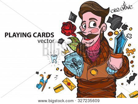 Jack Of Clubs Playing Card Suit. Vector Illustration.