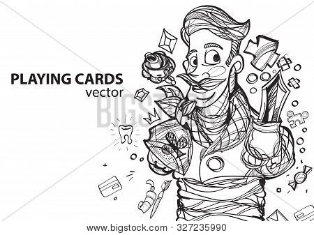 Jack Of Clubs Playing Card Suit. Outline Drawing.