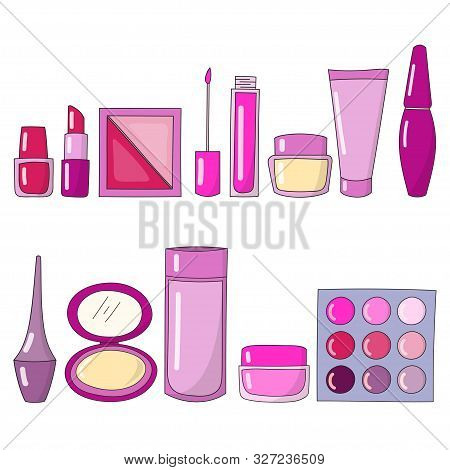 Illustration Of A Cosmetic Collection Design And Facial Skin Care For Skin Beauty Isolated By A Whit