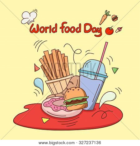 World Food Day. Flat Design Fast Food Concept Vector Illustration.  Food Icon Trendy And Modern Food