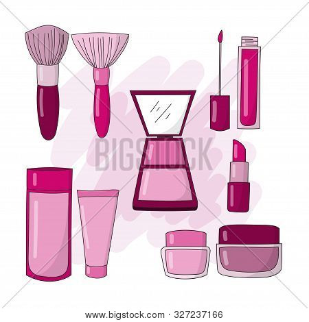 Illustration Of Cosmetics And Makeup Icons For Facial Skin Care To Look Beautiful And Fresh. Cosmeti