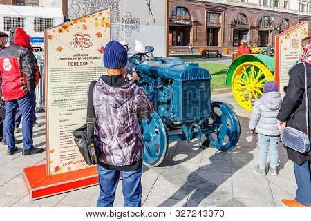 Moscow, Russia - October 08, 2019: Visitors Of Exhibition Of Agricultural Machinery On Revolution Sq
