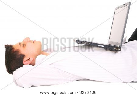 Youmg Man Resting With Laptop