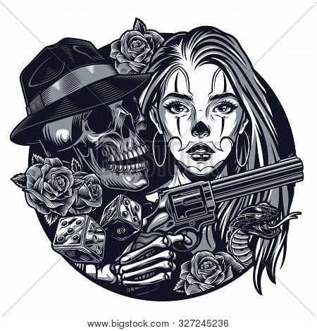 Vintage Monochrome Chicano Tattoo Round Concept With Attractive Girl Gangster Skull Skeleton Hand Ho