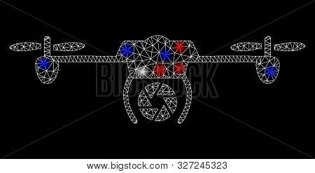 Bright mesh shutter spy airdrone with glow effect. White wire frame triangular mesh in vector format on a black background. Abstract 2d mesh designed with triangular lines, spheric points, poster