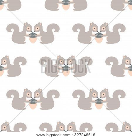 Seamless Pattern With Colored Squirrels And Acorns, Cute Vector Illustartion, Simple Desing