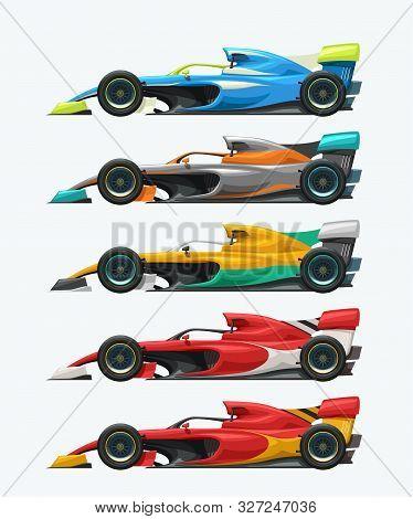 Illustration Of Formula One Cars Set Side View Isolated On White Background