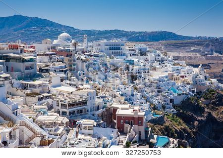 Santorini, Greece - April, 2018: Beautiful City Of Fira At Santorini Island