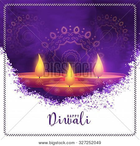 Happy Diwali Purple Watercolor Abstract Background Design