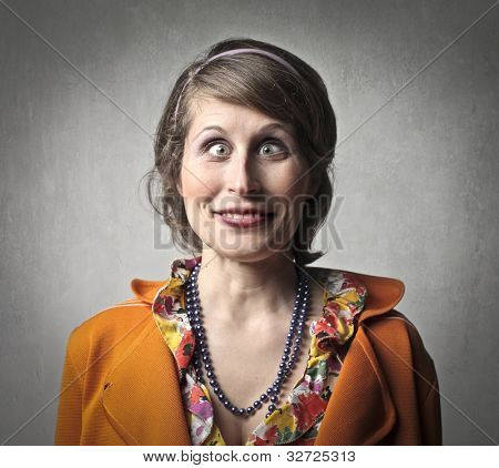 Young woman with funny grimace