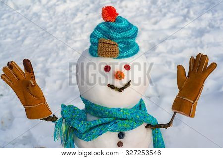 Snowman In Snow Forest. Merry Christmas And Happy Holidays. Snow Men. Funny Snowmen. Making Snowman
