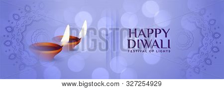 Beautiful Happy Diwali Subtle Banner In Blue Color